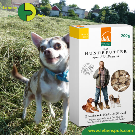 Defu Felderzeugnisse Bio Hundefutter Snack Huhn und Dinkel